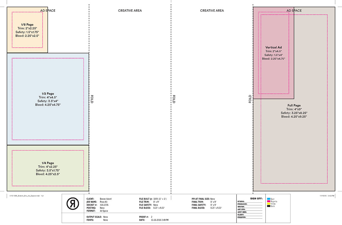Brochure Ad Sizes and Layout