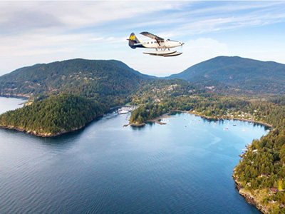 Harbour Air Seaplanes high above Bowen Island